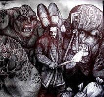 Thorin vs trolls - the hobbit by XantheUnwinArt