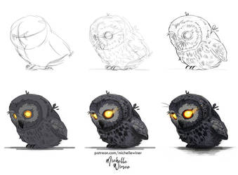 Drawing process *Owl-watcher* by Michelle-Winer