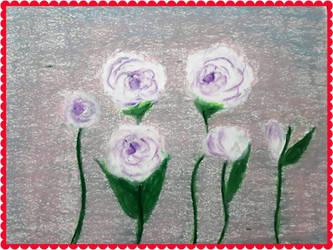 Flowers in fall...oilpastelon paper,A4. by irmaGallerys