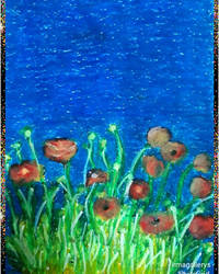 Red in blue,oil pastel paper A4. by irmaGallerys