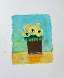 Yellow rose,oilpastel on paper 2115. by irmaGallerys