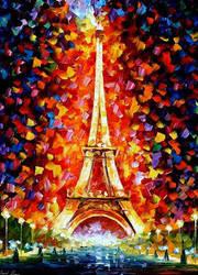 Paris Eiffel Tower by Leonid Afremov by Leonidafremov