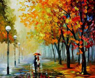 Fall Drizzle by Leonid Afremov by Leonidafremov