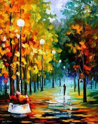 Fall park oil painting on canvas by Leonid Afremov by Leonidafremov