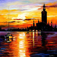 Town On Horizon by Leonid Afremov by Leonidafremov