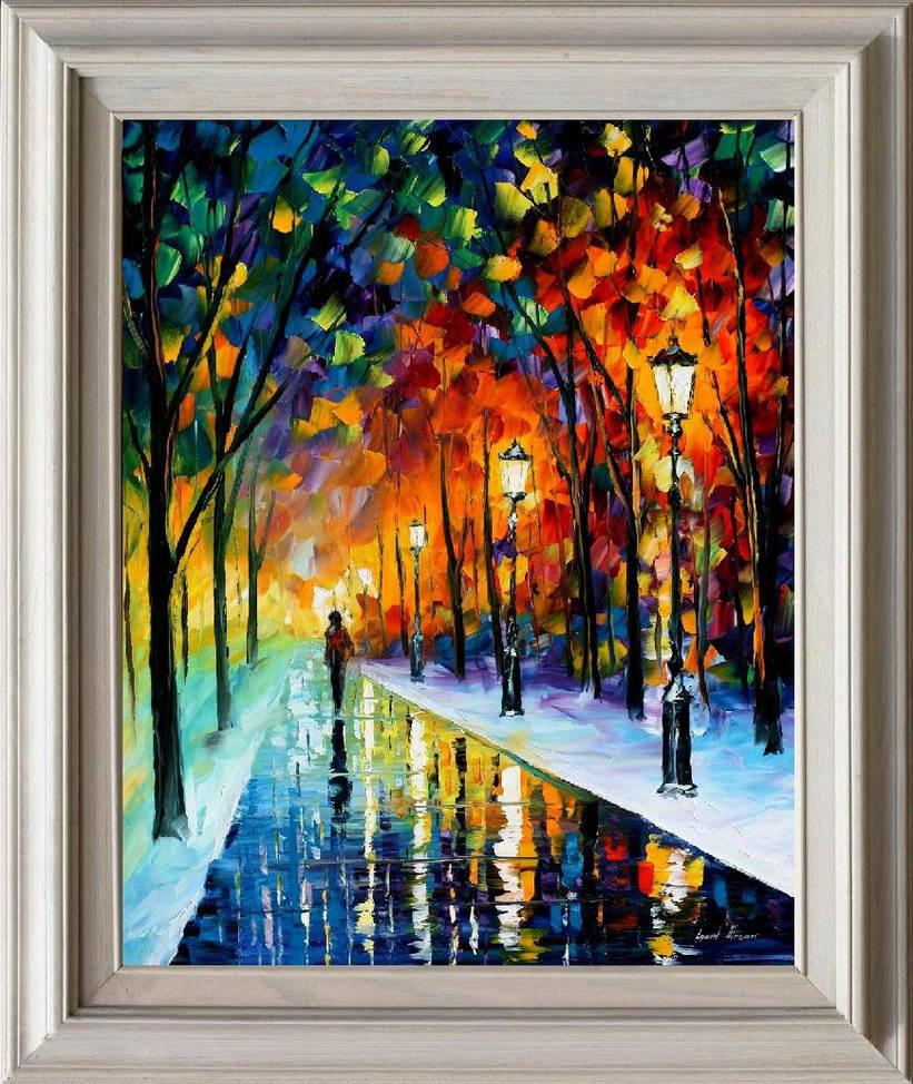 Frozen path framed by Leonid Afremov by Leonidafremov