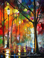 Night alley 4 by Leonid Afremov by Leonidafremov