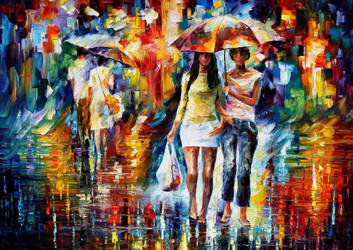 Going Shopping day by Leonid Afremov by Leonidafremov