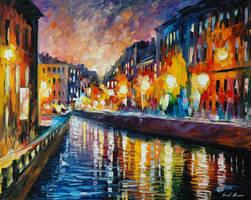 City lights by Leonid Afremov by Leonidafremov