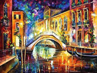 Night Venice by Leonid Afremov by Leonidafremov