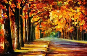 Oak alley by Leonid Afremov by Leonidafremov