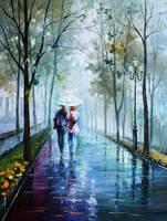Foggy stroll by Leonid Afremov by Leonidafremov