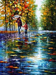 Stroll In Autumn Park by Leonid Afremov by Leonidafremov