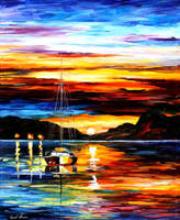Drowned sunset by Leonid Afremov by Leonidafremov
