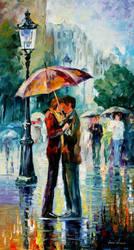 Rainy kiss by Leonid Afremov by Leonidafremov