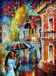 Rainy evening by Leonid Afremov by Leonidafremov
