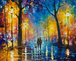 Fog in the park 3 by Leonid Afremov by Leonidafremov