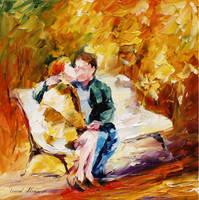 KISS ON THE BENCH by Leonid Afremov by Leonidafremov