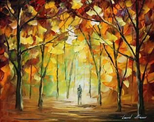 Yellow park by Leonid Afremov by Leonidafremov
