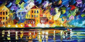 Harbor's Flames by Leonid Afremov by Leonidafremov