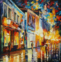 Glowing rain by Leonid Afremov by Leonidafremov