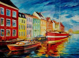 Amsterdam - city dock by Leonid Afremov by Leonidafremov