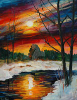 December Winter Sunset by Leonid Afremov by Leonidafremov