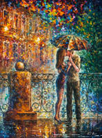 Kiss Under Umbrella by Leonid Afremov by Leonidafremov