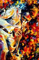 Miles Davis gold trumpet by Leonid Afremov by Leonidafremov