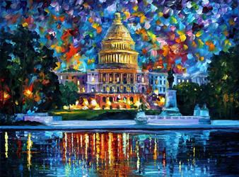 Capitol At Night Washington by Leonid Afremov by Leonidafremov