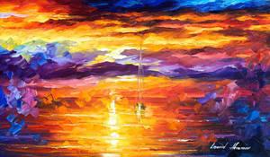 Sunset Of Emotions by Leonid Afremov by Leonidafremov