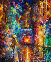 Evening Trolley by Leonid Afremov by Leonidafremov