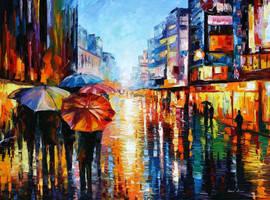 Night Umbrellas by Leonid Afremov by Leonidafremov