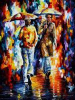Rainy Encounter by Leonid Afremov by Leonidafremov