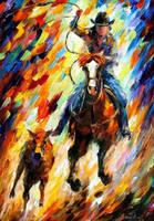 Rodeo The Chase by Leonid Afremov by Leonidafremov