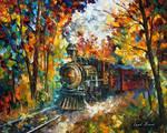 Old Train by Leonid Afremov by Leonidafremov