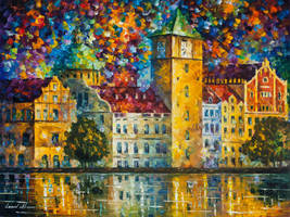 Clock Tower by the River by Leonid Afremov by Leonidafremov