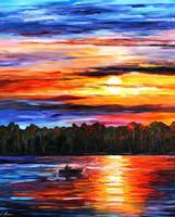Fishing By The Sunset by Leonid Afremov by Leonidafremov
