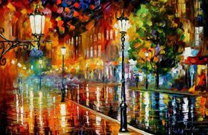 Street Of Illusions by Leonid Afremov by Leonidafremov