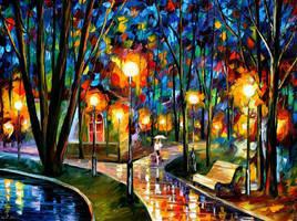 Park By The Lake by Leonid Afremov by Leonidafremov