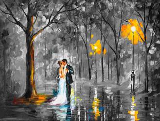 WEDDING UNDER THE RAIN  Limited edition giclee by Leonidafremov