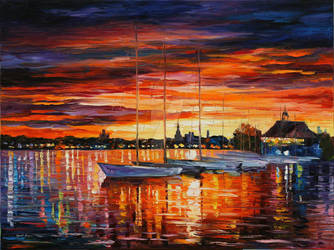 Helsinki - Sailboats Yacht  Club by Leonid Afremov by Leonidafremov