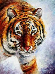 Tiger On The Snow by Leonid Afremov by Leonidafremov