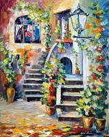 Floral Terrace by Leonid Afremov by Leonidafremov