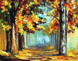 Old Woods by Leonid Afremov by Leonidafremov