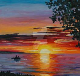 Romantic Sunset by Leonid Afremov by Leonidafremov