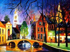 Bruges by Leonid Afremov by Leonidafremov