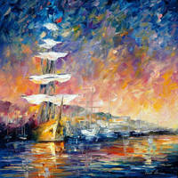 Sailboats In Sunrise by Leonid Afremov by Leonidafremov