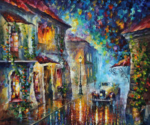 The Streets At Night by Leonid Afremov by Leonidafremov