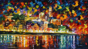 Fiesta In The Harbor by Leonid Afremov by Leonidafremov